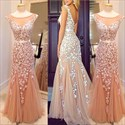 Champagne Sheer Cap Sleeve Floral Applique Backless Mermaid Prom Dress