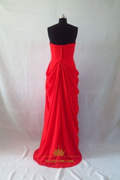 Elegant Red Strapless Pleated Chiffon Long Prom Dress With Front Split