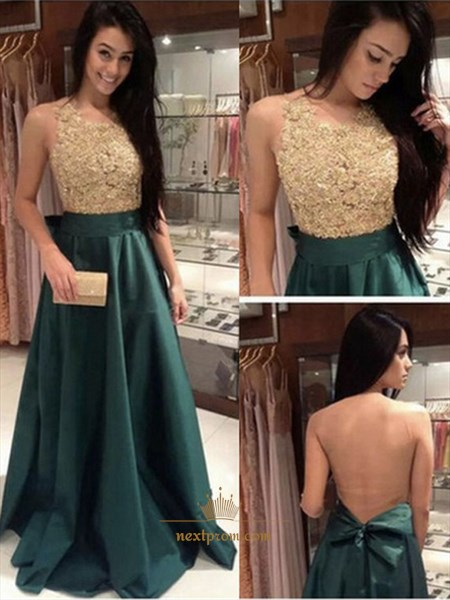 Hunter Green Beaded Bodice Floor Length Backless Prom Dress With Bow