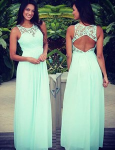 Mint Green Sleeveless Lace Bodice Chiffon Prom Dress With Keyhole Back