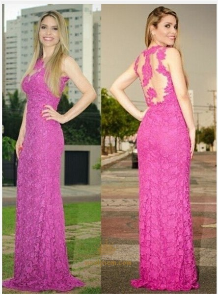 Elegant Hot Pink Sleeveless Illusion Applique Lace Mermaid Prom Dress