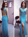 Blue Beaded Bodice Keyhole Back Front Split Chiffon Long Prom Dress