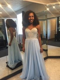 Light Blue Strapless Lace Beaded Bodice A Line Chiffon Long Prom Dress