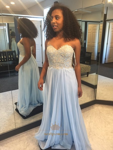 Light Blue Strapless Lace Beaded Bodice A Line Chiffon Long Prom Dress