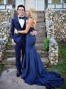 Royal Blue Elegant Strapless Sweetheart Mermaid Prom Dress With Train