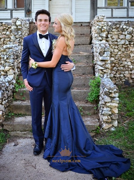 Royal Blue Elegant Strapless Sweetheart Mermaid Prom Dress With Train