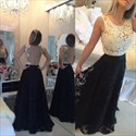 Sleeveless Lace Beaded Bodice Sheer Back Floral Applique Prom Dress