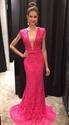 Hot Pink Deep V Neck Cap Sleeve Lace Sheath Mermaid Long Evening Dress