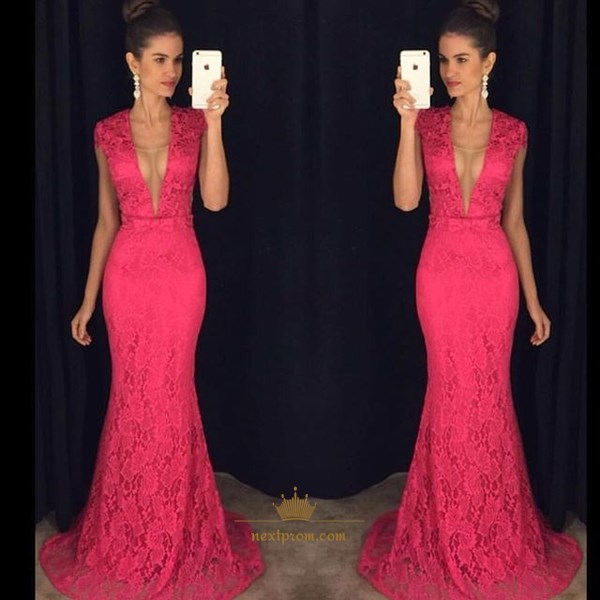 Hot Pink Deep V Neck Cap Sleeve Lace Sheath Mermaid Long Evening Dress