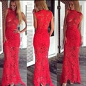 Red Sleeveless High Neck Sheer Lace Overlay Floor Length Prom Dress