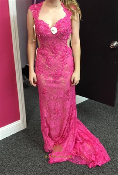 Fuchsia Sweetheart Neckline Keyhole Back Lace Beaded Long Prom Dress