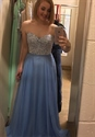 Light Blue Strapless Sweetheart Lace Bodice Chiffon Long Prom Dress