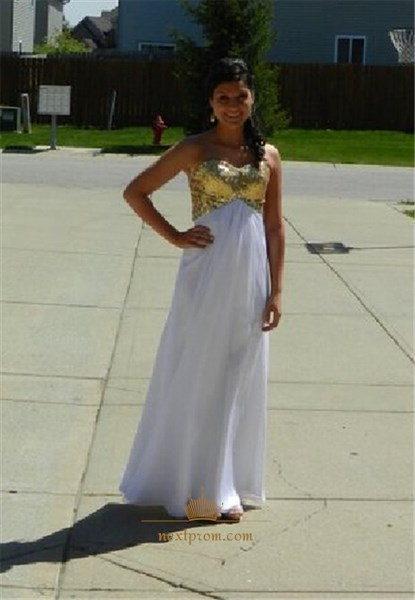 White Strapless Chiffon Long Bridesmaid Dress With Gold Sequin Bodice