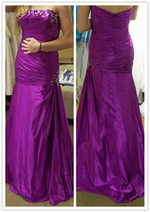 Purple Strapless Backless Beaded Embellished Ruched Mermaid Prom Dress