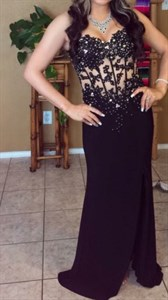 Black Strapless Illusion Beaded Bodice Evening Dress With Front Split