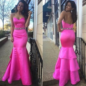 Hot Pink Strapless Sweetheart Beaded Waist Backless Mermaid Prom Dress