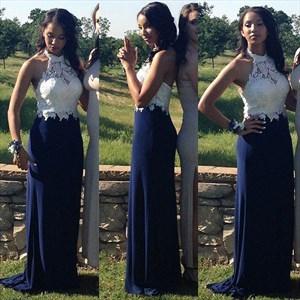 Navy Blue Sleeveless Halter Lace Bodice Backless Mermaid Prom Dress