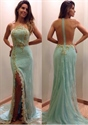 Light Blue Sheer Back Beaded Embellished Lace Side Split Prom Dress