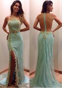 Light Blue Sheer Back Beaded Embellished Lace Side Split Prom Dress