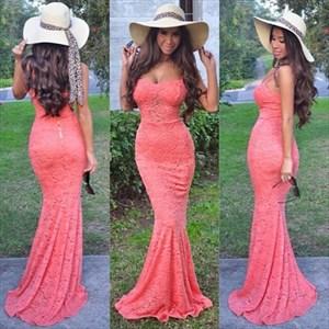 Coral Elegant Spaghetti Strap Lace Overlay Sheath Mermaid Prom Dress