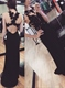Black Floral Applique Illusion Neck Backless Chiffon Long Prom Dress