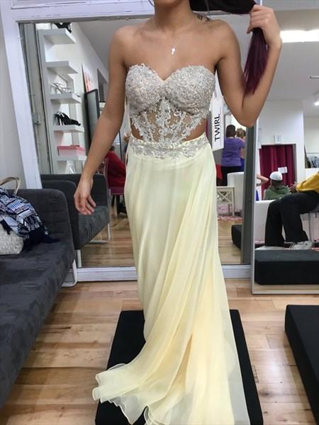 Light Yellow Strapless Lace Embellished Cut Out Waist Chiffon Dress