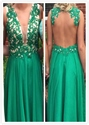 Green Sleeveless Applique Beaded Bodice Keyhole Back Long Prom Dress