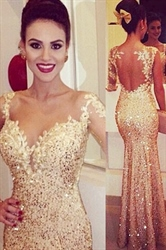 Sweetheart Backless Sequin Mermaid Prom Dress With Long Sheer Sleeve