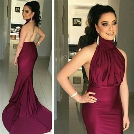 Burgundy Halter High Neck Pleated Bodice Backless Mermaid Prom Dress