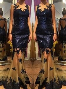 Royal Blue Sleeveless Applique Sequin Sheer Tulle Mermaid Prom Dress