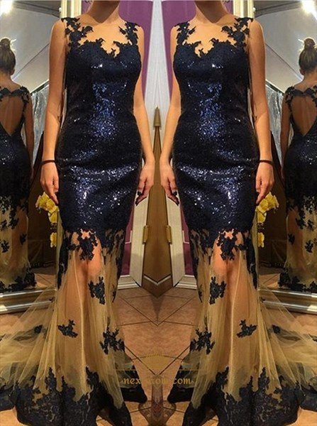 Royal Blue Sleeveless Applique Sequin Sheer Tulle Mermaid Prom Dress