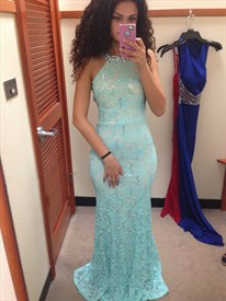 Light Blue Beaded Halter Neck Backless Lace Sheath Mermaid Prom Dress