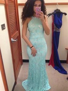 Light Blue Beaded Halter Neck Backless Lace Sheath Mermaid Prom Dress