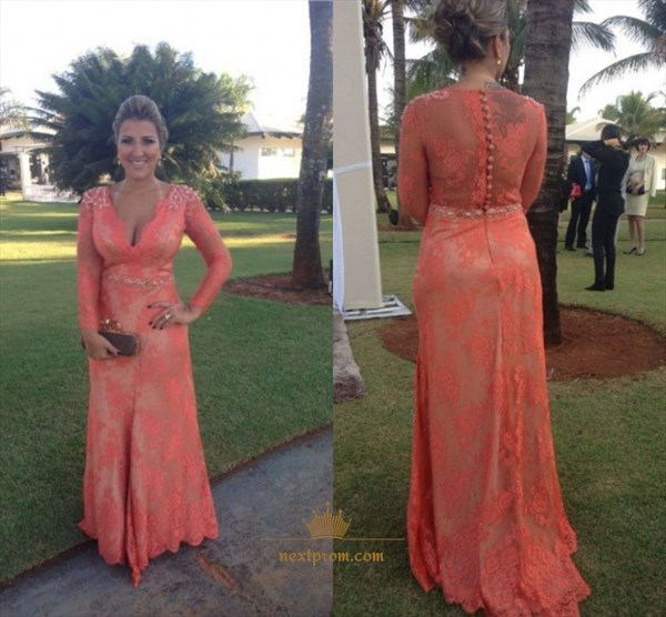 Coral Illusion Long Sleeve Beaded Embellished Lace Mermaid Prom Dress