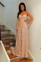 Light Pink Strapless Sweetheart A-Line Lace Overlay Bridesmaid Dress
