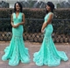 Turquoise Sleeveless V Neck Backless Lace Overlay Mermaid Prom Dress