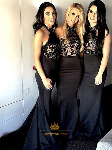 Black Halter Lace Embellished Mermaid Bridesmaid Dress With Open Back