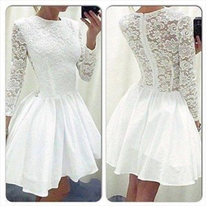 White Illusion Long Sleeve Lace Bodice A Line Knee Length Prom Dress