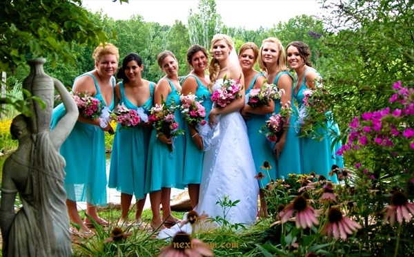 Blue Sleeveless Tea Length Chiffon Bridesmaid Dress With Beaded Strap