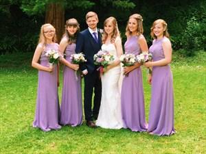 Lavender Sleeveless Lace Bodice A-Line Chiffon Long Bridesmaid Dress