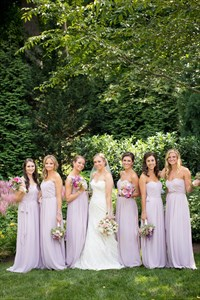 Lilac Strapless Floor Length Ruched Chiffon Bridesmaid Dress With Belt
