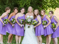Lavender One Shoulder Pleated Chiffon Knee Length Bridesmaid Dress