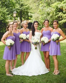 Lavender Strapless Empire Waist Knee Length Chiffon Bridesmaid Dress