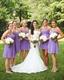 Lavender Strapless Empire Waist Knee Length Chiffon Bridesmaid Dress