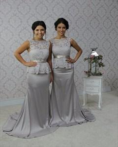 Grey Sleeveless Lace Bodice Mermaid Long Bridesmaid Dress With Peplum