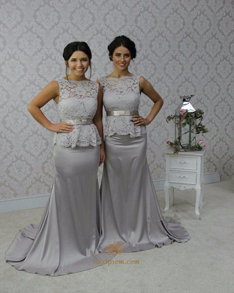 Grey Sleeveless Lace Bodice Mermaid Long Bridesmaid Dress With Peplum