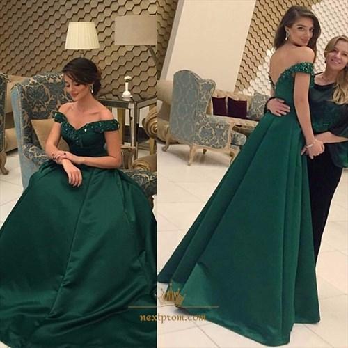 Elegant Emerald Green Beaded Off Shoulder Prom Dress With Open Back