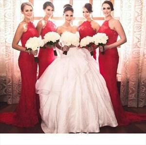 Red Elegant Halter Lace Sheath Mermaid Floor Length Bridesmaid Dress
