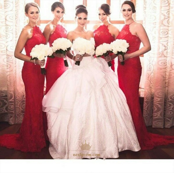 Red Elegant Halter Lace Sheath Mermaid Floor Length Bridesmaid Dress