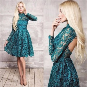 Turquoise High Neck Long Sleeve Backless A-Line Knee Length Lace Dress